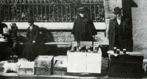 Conwy Honey Fair c.1900. Mrs John Berry, Llanwrst standing at her stall. (2)